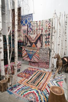 Gorgeous Moroccan Boucherouite and Azilal carpets!   A large collection available for sale on www.beyondmarrakech.com