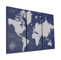 Vintage Style  WORLD MAP  Screen Print Wood by CedarWorkshop