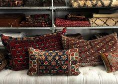 John Derian Company Inc: Vintage Rug Pillows Shaw Carpet, Wall Carpet, Carpet Flooring, Rugs On Carpet, Tartan Decor, Art Chinois, Luxury Cushions, Art Japonais, Carpet Trends
