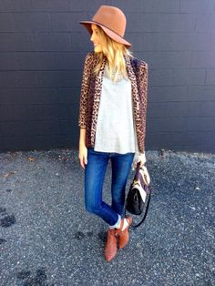 Leopard sweater with a hat | Little Blonde Book