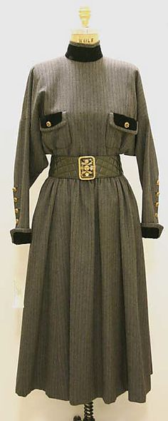 Dress, House of Chanel, Designer Karl Lagerfeld, 1988, French, wool and leather