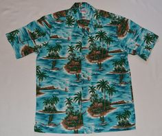 14addf3d Vintage 80s Mens Hawaiian Shirt by HAWAII Aloha Palm Sailboat Outrigger  Canoe Sz L