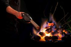 Now you can light a fire in an instant, -both inside and outside, with the Bison Airlighter!