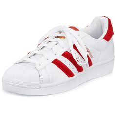 adidas Superstar Classic Fashion Sneaker found on Polyvore featuring shoes, sneakers, adidas, leather shoes, white leather trainers, white lace up shoes, lace up shoes and low heel shoes