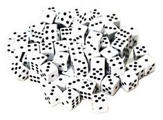 ABO Gear 100 White Dice - 16MM - with Black Pips Dots for…