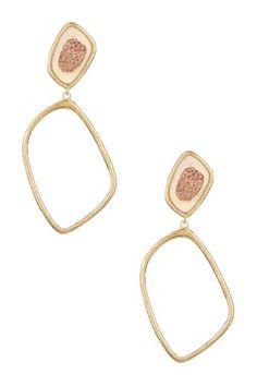 Marcia Moran Polished Rose Druzy Double Drop Earrings