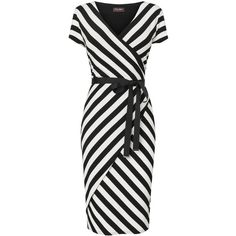 Phase Eight Lilah Striped Wrap Dress, Black/Ivory ($82) ❤ liked on Polyvore featuring dresses, vestidos, stripes, short dresses, платья, v neck dress, winter white dress, v-neck dresses, short sleeve mini dress and short sleeve dress