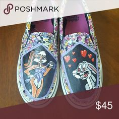 Custom painted shoes. Size 9 Woman's slip on shoe. Faded Glory Shoes