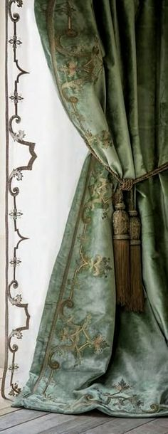 velvet embroidered curtains and this sheer embroidered panel - Thanks Barbara Davis for this beautiful pin!! xoxo