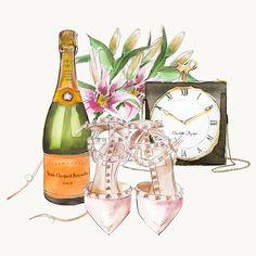 Fashion illustration; Veuve Clicquot; Valentino shoes; Clock bag;