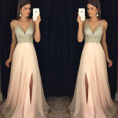 New arrival prom dress,modest prom dress,sparkly crystal beaded v neck open back long chiffon prom dresses,pageant evening gowns with leg slit,221