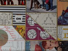 """vintage papers collage on illustration board, 6"""" x 8"""""""