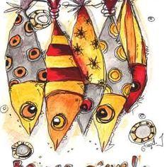 """Dessin poissons acrylique et feutre noir: """" bonne pêche!"""" …"""