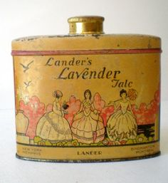 talcum powder tins | Vintage Lander's Lavender Talc Talcum Powder Tin