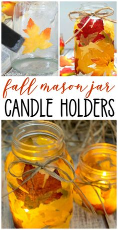Start Out Your Very Own Sewing Company Mason Jar Leaf Candle Holders.A Beautiful Fall Craft To Make With The Kids Makes Pretty Glowy Fall Leaf Decor For The Home. Mason Jar Lanterns, Fall Mason Jars, Mason Jar Candle Holders, Mason Jar Centerpieces, Mason Jar Crafts, Mason Jar Diy, Fall Crafts For Kids, Crafts To Make, Thanksgiving Crafts