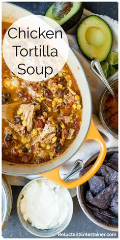 Simmer a pot of spicy Easy Chicken Tortilla Soup on the stove, made with fire-roasted tomatoes, black beans, chicken, corn, cheese, and favorite toppings! #soup #fallrecipes #chickentortillasoup #tortillas #chickensoup #onepotrecipes #chickenrecipes #easychickenrecipes #healthychickenrecipes #quickmeals #healthydinner #reluctantentertainer Easy Soup Recipes, Healthy Chicken Recipes, Mexican Food Recipes, Cooking Recipes, Healthy Soup, Milk Recipes, Cooking Tips, Mexican Dishes, Yummy Recipes