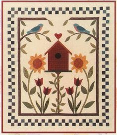 Cute applique and pieced wallhanging...pattern available at http://www.therabbitfactory.com