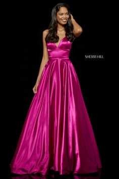 2fbb605a2a2 Shop long Sherri Hill a-line v-neck prom dresses at PromGirl. Floor-length  designer dresses for prom and a-line formal evening dresses with  v-necklines and ...