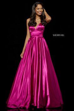 5f19f3f897e Shop long Sherri Hill a-line v-neck prom dresses at PromGirl. Floor-length designer  dresses for prom and a-line formal evening dresses with v-necklines and ...