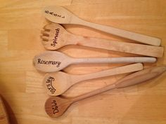 For the garden! DIY sharpie and old wooden spoons to stick in each pot