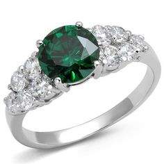 1.7CT Round Cut Emerald Green Russian Lab Diamond Ring