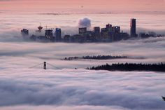 Sunrise over Vancouver, Canada, in the fog Places Around The World, Oh The Places You'll Go, Places To Travel, Places To Visit, Around The Worlds, Machu Picchu, Bora Bora, Mykonos, Canada