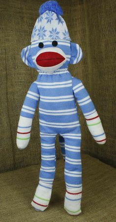 PlushLand Winter Snowflakes Christmas Blue White Hat  Knit Sock Monkey 21""