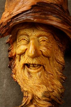 Wizard Wood Spirit Carving Christmas Gift by TreeWizWoodCarvings, $185.00