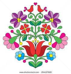 Kalocsai embroidery - Hungarian floral folk pattern with birds