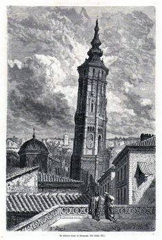 Antique woodcut print The Leaning Tower of Zaragoza 1876 grabado Torre Nueva