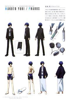 Persona 3 - Makoto Yuki Persona 3 Anime, Persona 4, Character Model Sheet, Character Concept, Character Design, Movie Archive, Archive Books, Persona 3 Portable, Makoto