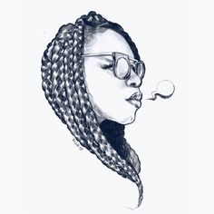 DIJA OUIJA - I miss my box braids. ☹ #flashbackfriday . . . . . #naturalhair #boxbraids #pencildrawing #drawing #dijaouija #art #artwork...