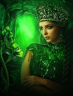 Lilia Osipova is a Russian digital artist living and working in Italy with her Italian husband and two children. Although Lilia finished medicine, she Blue And Green, Shades Of Green, Emerald Green, Russian Art, World Of Color, Beautiful Artwork, Gothic Fashion, Women's Fashion, Vintage Beauty