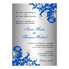 Royal Blue and Silver Flourish Wedding Personalized Announcements