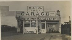 Milton (Park) Petrol Garage c1930 Kent? UK Adverts shell pumps cars Photograph Milton Park, Shells, Advertising, Garage, Photograph, Pumps, Cars, Ebay, Vintage