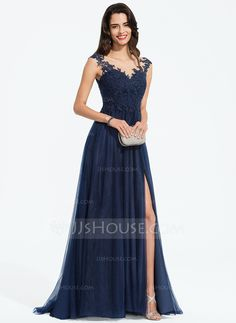 A-Line Scoop Neck Sweep Train Tulle Prom Dresses With Beading Split Front Tulle Prom Dress, Prom Dresses, Formal Dresses, Happy Women, Winter Springs, Holiday Dresses, Autumn Summer, Covered Buttons, Perfect Fit