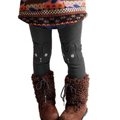 2f85df9852a Amazon.com  CUTEBABY Little Girl Winter Warm Rabbit Printed Leggings Fleece  Pants  Clothing