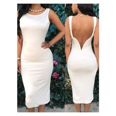 White Open Back Pencil Dress ($13) ❤ liked on Polyvore featuring dresses, open back dresses, white pencil dress, white day dress, white color dress and white open back dress