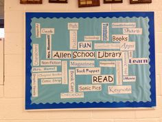 Back to school library wordle bulletin board
