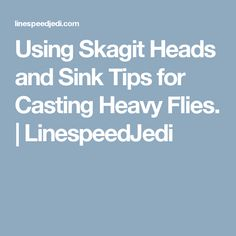 Using Skagit Heads and Sink Tips for Casting Heavy Flies.   LinespeedJedi