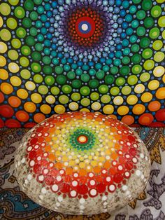 SET~Dot Mandala Painting, Mandala Stone, 6x6 inch Painting & Matching Painted Stone, Original Art by Kaila Lance, Sacred Geometry, Dot Art by KailasCanvas on Etsy