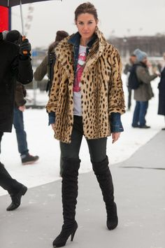 This rock 'n' roll look relied on a leopard coat and a vintage tee; | Winter-Style Reboot: 224 Street Snaps to Inspire You Now | POPSUGAR Fashion Photo 1