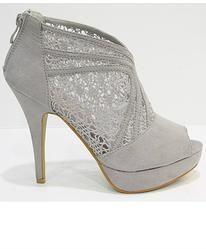 Grey Lace Detail Shoes Lace Detail, Peeps, Peep Toe, Grey, Boots, Fashion, Ash, Shearling Boots, Moda