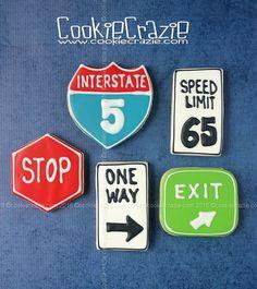 CookieCrazie: Road Sign Decorated Cookies