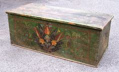 This Antique European Folk Art Blanket Chest measures 19 and one half inches wide by 41 and one half inches long by 16 inches high.This European 6-board painted blanket chest or trunk is in original condition including its paint and dates from 1800.