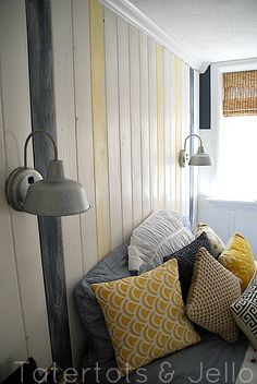 I like the wood on the walls and the light fixtures. Could do a lot with that.   beachy teen bedroom