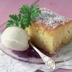 Syrupy cake with coconut (Ravani) - Find the recipe her http://www.icookgreek.com/en/recipes/item/syrupy-cake-with-coconut?category_id=281