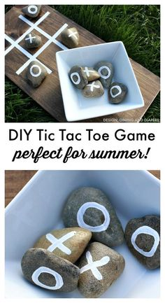 DIY Tic Tac Toe Game For Summer Gatherings.Y Crafts home decor ideas for Summer holidays Make this DIY Tic Tac Toe Game for outdoor fun this summer! Taryn from Design, Dining and Diapers shows us how! Kids Crafts, Craft Projects, Kids Diy, Project Ideas, Wood Projects Kids, Diy Summer Projects, Projects For Adults, Tic Tac Toe Game, Tic Toe