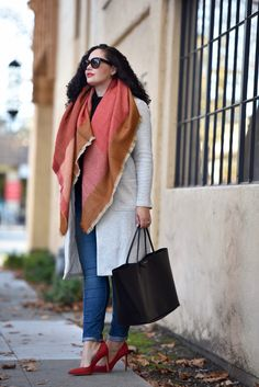 Blanket Scarf And Knit Jacket