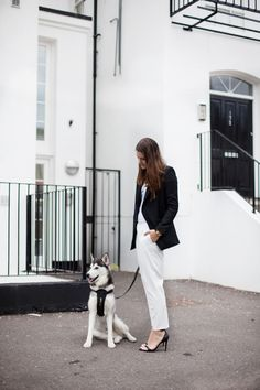 Monochrome outfit + cute dog